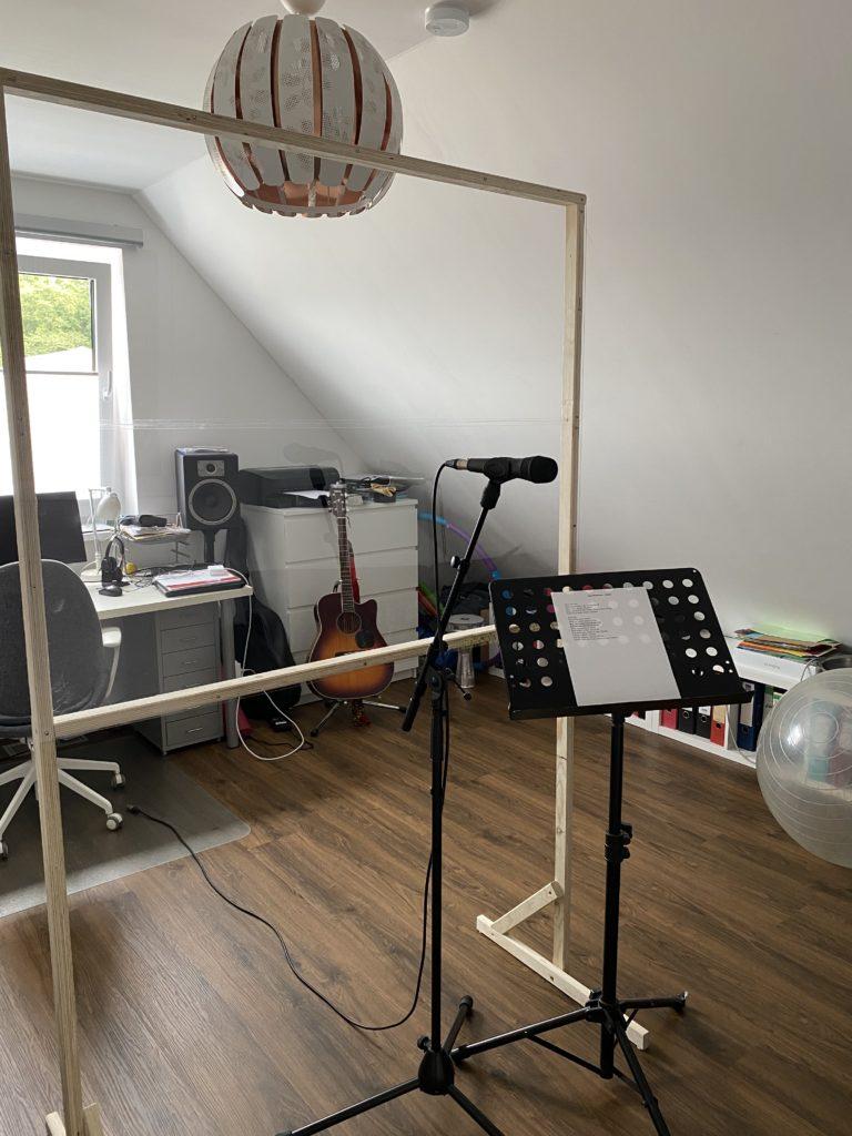 Vocalcoaching Raum Corona Spuckschutz Hygienekonzept